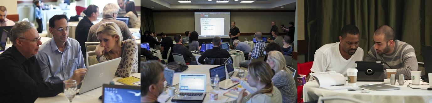 (Izquierda) Superman teniendo una sesión uno a uno. (medio) nuestro seminario anual de day trading. (derecha) Hitman y Craig revisando gráficas