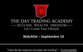 Watchlist Acciones USA Septiembre 14 2015