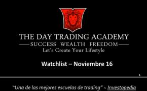 Watchlist Acciones USA Noviembre 16 2015