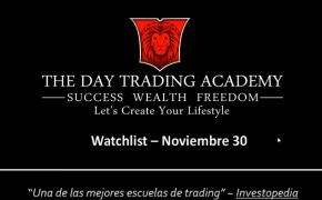 Watchlist Acciones USA Noviembre 30 2015
